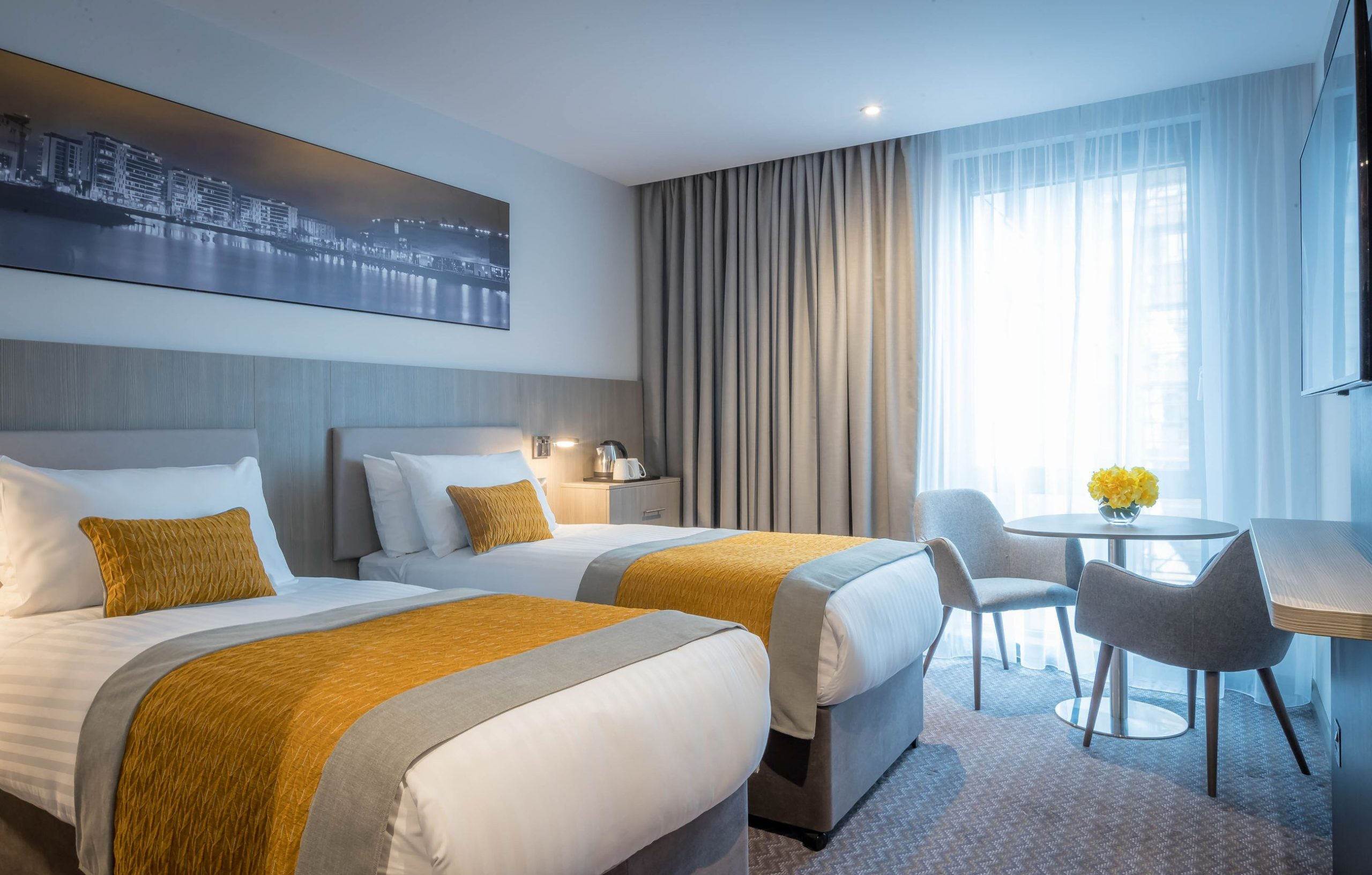 Two large single beds at Maldron Hotel Glasgow